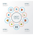 music icons colored line set with play laptop vector image vector image