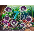 Number 7 with seven spiders on web vector image vector image