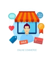 Online storfront with seller in fron vector image