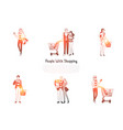 people with shopping - families and people vector image vector image
