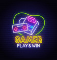retro games neon sign bright signboard vector image vector image
