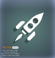 Rocket icon symbol on the blue-green abstract vector image