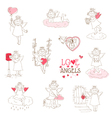 set cute angels and cupids - love wedding valen vector image