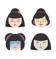 set japanese women faces with expression vector image
