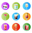 set nine tropical cocktails rounded image vector image vector image