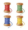 set of spool of cartoon colorful thread equipment vector image vector image