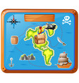 ship travelling at sea with map vector image vector image