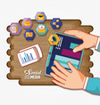 social media set icons with wooden background vector image vector image