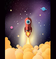 space rocket launch and galaxy vector image vector image