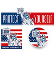 Stop coronavirus concept with statue liberty