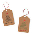 tags with painted christmas trees vector image