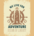 travel banner with lighthouse and ships helm vector image vector image