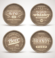 Wooden casks with alcohol drinks emblems vector image vector image