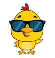 yellow chick character wearing sunglasses waving vector image vector image