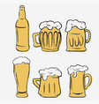 beer glasses set hand-drawing glass and bottle vector image