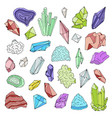 minerals crystals gems isolated color vector image