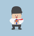 Young businessman tearing his shirt and showing th vector image