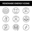 a set line icons for renewable energy theme vector image