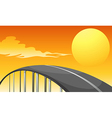 A winding road and a sunset vector image vector image