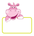 baby hippo cartoon label vector image vector image