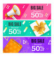 big sale banner card horizontal set vector image vector image
