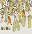 Boho background with feathers and shells vector image