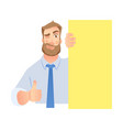 businessman holding blank signboard vector image vector image