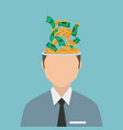 businessman with coin in the head vector image