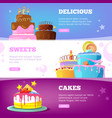 cake banners birthday baking products with syrup vector image