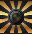 camera lens with lenses on black and yellow vector image vector image