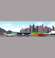 cars and passenger bus driving asphalt highway vector image vector image