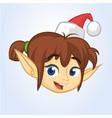 cartoon christmas elf santa helper head icon vector image