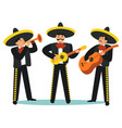 cartoon color characters people mariachi band set vector image vector image