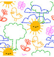 colorful children doodle cartoon seamless pattern vector image vector image