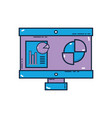 computer with company document and statistics vector image vector image