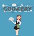 cookery with napkin and food icons design vector image vector image