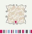 cute heart frame love message greeting card vector image