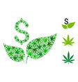 eco startup collage of weed leaves vector image