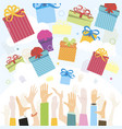 gifts falling from sky to people hands vector image vector image
