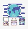globe world with social media set icons vector image
