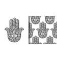 hamsa hand of fatima print and seamless pattern vector image