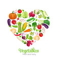 heart shaped with vegetables vector image vector image