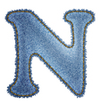 Jeans alphabet Denim letter N vector image vector image