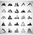 mountain icons set on white background for graphic vector image