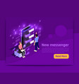 people and interfaces glow isometric banner vector image vector image