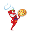 pepper cook with pizza vector image vector image