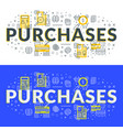 purchases flat line concept for web banner vector image
