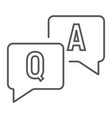question and answer thin line icon e learning vector image