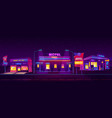 roadside motel tourist accommodation at night time vector image vector image