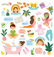 self care and well-being clipart set vector image vector image